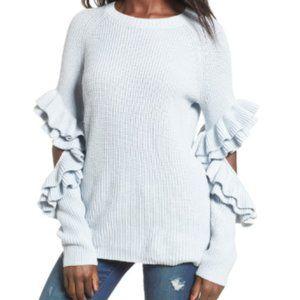 BP. Blue Elbow Cutout Ruffle Sweater